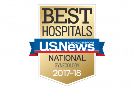 A digital medal that reads best hospitals by US News and world reports National Gynecology 2017-2018