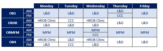 OB1 Weekly Schedule